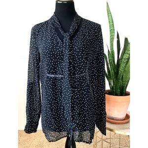 Forever 21 black & white polka dot sheer blouse L